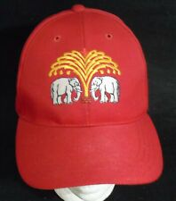 Thailand Asian CHANG BEER  Baseball Cap Hat Red Two Elephants