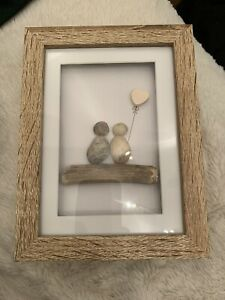 Pebble Picture Art Box Frame Gift Love Couple Driftwood Heart anniversary