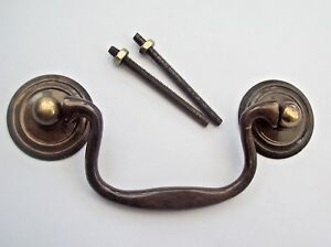 LARGE SOLID BRASSCABINET CUPBOARD DRAWER DROP BAR SWAN NECK PULL SWING HANDLE