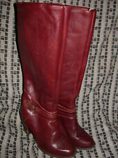 Vtg 80 Womens 7.5 Zodiac Red Maroon High Heel Leather Buckle Strap Tall Boots