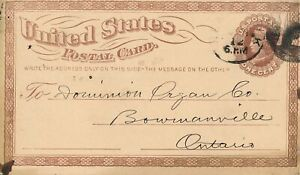 US UX3a 1¢ Postal Card to Canada Without Watermark PF Cert VF Used 1873 Liberty