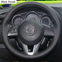 New DIY Sewing-on PU Leather Steering Wheel Cover Exact Fit For Mazda CX-5