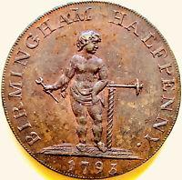 1793 GREAT BRITAIN-D&H-50 1/2 PENNY~ WARWICKSHIRE-BIRMINGHAM~TOKEN-UNCIRCULATED