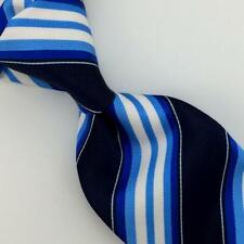 Kiton Napoli Tie Blue Black Stripes Seven 7 Fold Necktie Luxury Silk Ties L5 NWT