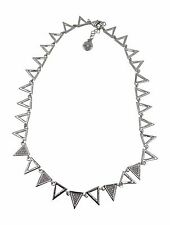 New Silver Tone Triangle Necklace with Rhinestones #FN-14-814