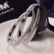 Crystal Rhinestone Large Big Ear Hook Hoop Earrings Fashion Women Jewelry