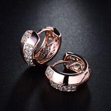 HUCHE Lovely 18K Rose Gold Filled Crosss Diamond Crystal Women Wedding Earrings