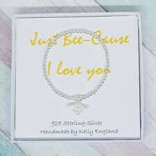 Bee-Cause I love you Sterling Silver Bee Stack Stretch Bracelet, Beaded Bracelet