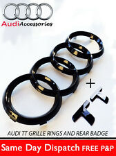 AUDI TT GLOSS BLACK FRONT RINGS AND TT LETTERS BADGE EMBLEMS BONNET BOOT A3 A1