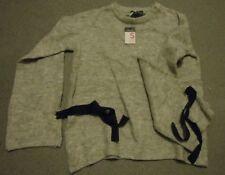 Primark grey crew neck 3/4 ribbon cuff wide sleeves Jumper UK 6-8