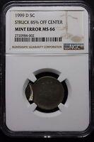 1999 D Jefferson Nickel Mint Error 85% OFF CENTER-SUPER RARE JUST DATE STRUCK!