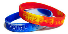 "Set of ""FIRE & WATER COMBO"" Christian Silicone Wrist Band Bracelets"
