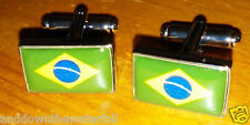 Brazil Cuff-links Rio Carnival Globe Green Gold Blue Yellow Silver Olympic 2016