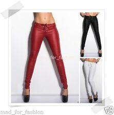 SEXY LEATHER LOOK TROUSERS WITH LACING. 3 COLOURS!