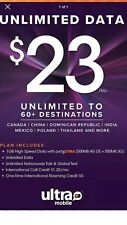 Ultra mobile $23 Plan Preloaded Sim Card 1 Month 30 Day plan Unactivated service