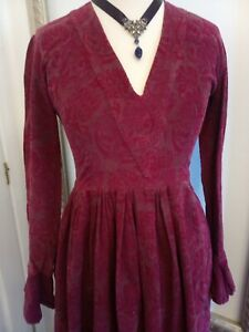 Laura Ashley red corduroy heraldic maxi dress - Ditsy Vintage Medieval Style XS