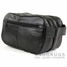 Men's Super Soft Nappa Leather Toiletries /Travel /Holiday /Over Night Wash Bag