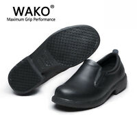 Men's Chef Genuine Leather Kitchen Cook Skidproof Oil Resistant Shoes For Men