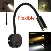 3W Flexible LED Schwanenhals Nachttisch Leselampe Wandlichtzylinder mit Mantel