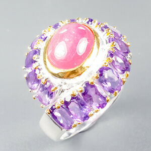 Unique Design Natural Ruby 925 Sterling Silver Ring Size 8.5/R123869