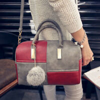 Women Boston Style Large Faux Leather Color Block Shoulder Bag Handbag Cheap