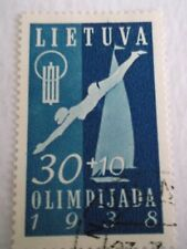 1938 Lithuania 1st National Olympic Fund 30c + 10c Blue used Mi.423, T51
