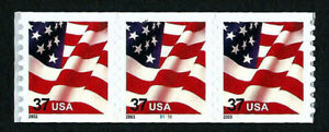 UNITED STATES, SCOTT # 3633A, COIL STRIP OF 3 STAMPS WITH PNC #B1111, 2003 FLAG
