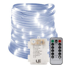 LE 33ft 120 LED Dimmable Rope Lights, Battery Powered, Waterproof, 8 Modes/Timer