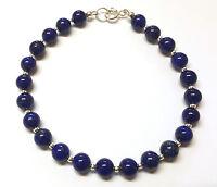Lapis Lazuli Bracelet, Semi-precious Gemstone Beads, Sterling Silver Beads 7.5in
