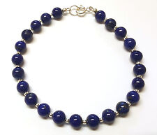 Lapis Lazuli Gemstone Bracelet Sterling Silver Beads 7.5 inch