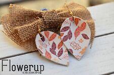leather boho statement leaf earrings Handmade lightweight white orange real