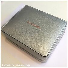 PANDORA Silver Zip Travel Jewellery Box Press Stud Fastenings Ring Box Case