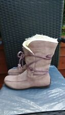 LADIES DUSKY PINK REAL SUEDE MID CALF BOOTS BY NEW LOOK SIZE 7.