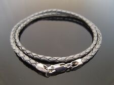"""3mm Grey Braided Leather Sterling Silver Necklace Or Wristband 16"""" 18"""" 20"""" 22"""""""