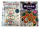 Henna Designs  Stained Glass Adult Coloring Book Designer Series Books Set of 2