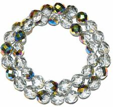 """CZ466 Silver Vitrail 8mm Fire-Polished Faceted Round Czech Glass Beads 16"""""""