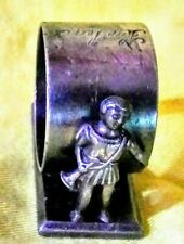 antique silverplated figural napkin ring, Royal guard with horn.  Middletown