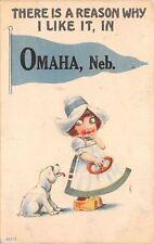 White Lab? Dog is Following Dutch Gal w/Pretzel~Pennant~Why She Likes Omaha 1915