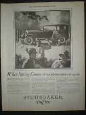 1925 MEN GOING FLYFISHING STUDEBAKER DUPLEX CAR AUTOMOBILE Trade art print ad