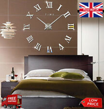 Stick-on Wall Clock DIY Large Modern Design Decal 3D Stickers Roman Numerals
