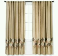 Target Threshold Tan Blush Zig Zag  Brown Embroidered Window Panel 54 x 84 new