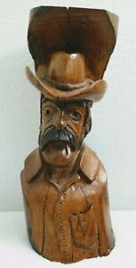 """Carved Stained Wood Log Western Cowboy Wall Folk Art Signed MT 13"""" Tall Vintage"""