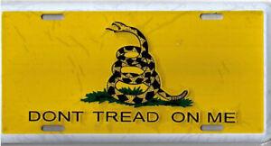 "Tea Party Gadsden Don't Tread on me Yellow/Yellow 6""x12"" Aluminum License Plate"
