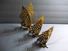 3 Vintage Copper Metal Brass Gold Cutout Butterfly Wall Decor Home Interior