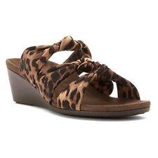 Vionic Orthaheel Womens Park Rizzo Wedge Sandals Tan Leopard Shoe Size 7 M