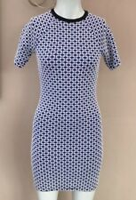 Topshop Geometric Dress Size 8 Bodycon T-shirt Textured Blue White Casual Day