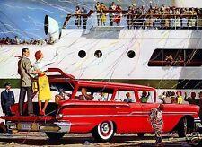 "5x7"" photo REPRINT GM CHEVROLET ADVERTISING RED 1958 WAGON ART CARD GLOSSY"