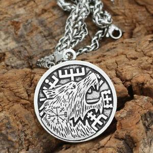 NEW HANDMADE Olmec Apocalypse Silver Necklace W/ Viking Wolf Vegvisir Pendant