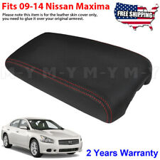 Fits 2009 2014 Nissan Maxima Leather Center Console Lid Armrest Cover Red Stitch Fits Nissan