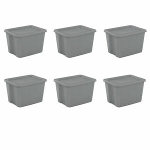 6 PLASTIC STORAGE CONTAINERS 18 Gallon Sterilite Stackable Tote Box Bin With Lid